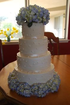 wedding cakes with hydragia  | Hydrangea wedding cake | Cakes  2 tiers. Top is plain for a topper to be placed. Bottoms has the flowers around it, and then let the circles of cupcakes begin!!!!