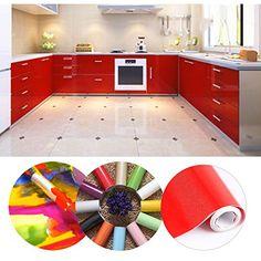 KINLO 50.61M Papier Peint Auto-Adhésif Rouge pour Armoire de Cuisine en PVC Imperméable Style Moderne Stickers Autocollant Muraux Étanche Décoration pour Chambre Salon Meuble