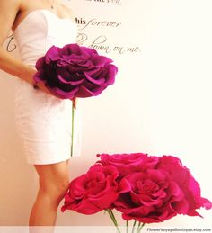 Oversized paper flower with long stem. Bride bridesmaid bouquet, birthday shower decoration. Summer, Spring, Beach