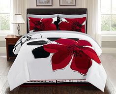 8 Pieces Burgundy Red Black White Grey floral Comforter Bed-in-a-bag Set Queen Size Bedding + Sheets Best Quilted Comforter, Set USA Queen Comforter Sets, Crib Bedding Sets, Nursery Bedding, Duvet Sets, Comforters, Bedspreads, Bed Cover Design, Bed Design, Bedroom Bed