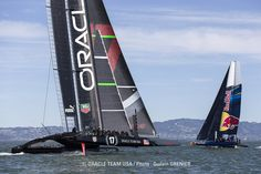 ORACLE TEAM USA trained on the SF Bay while the Red Bull Youth America's Cup happened close by.