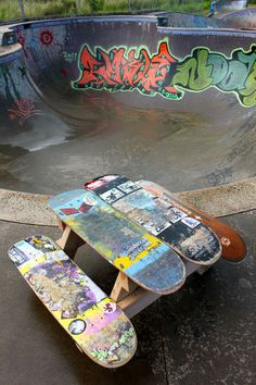 A kid's table made from skateboards