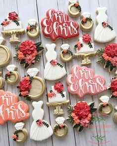 Wedding and Bridal Shower Cookies - Blush & Pine Creative <br> Ger some ideas for bridal shower cookies and wedding cookies here. Cute cookie ideas for bridal showers and for weddings! Wedding Shower Cookies, Bridal Shower Party, Bridal Shower Decorations, Bridal Showers, Bridal Shower Desserts, Wedding Favour Cookies, Bridal Shower Foods, Wedding Dress Cookies, Bridal Shower Planning