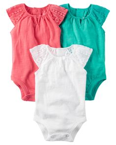 Baby Girl 3-Pack Flutter-Sleeve Original Bodysuits   Carters.com
