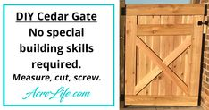 Easy to follow step-by-step guide to build a cedar gate. The same design can be used to build a fence or divider to hide trash cans.