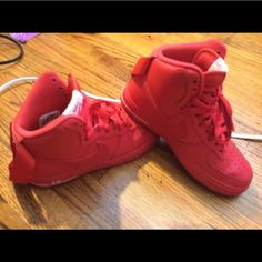 ALL red Nike Air Force 1's NOT PAINTED* custom made from the Nike company. Boys size 5.5. Barely worn. Nike Shoes Sneakers