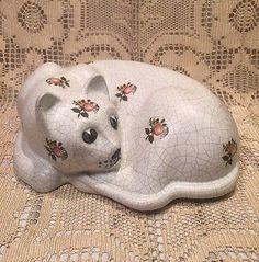 Large Vintage Ceramic Cat Colorful Design Floral Portugal Stamp Antiqued Crackle