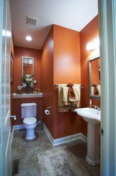 Orange you glad that Cavern Clay SW 7701 looks so stunning in this bathroom? bathroom hacks bathroom grey bathroom remodel ideas girls bathroom ideas bathroom accesories bathroom organization bathroom lighting ideas for bathroom Bathroom Colors, Bathroom Ideas, Colorful Bathroom, Orange Bathroom Decor, Bathroom Designs, Turquoise Bathroom, Navy Bathroom, Orange Small Bathrooms, Orange Bathrooms Designs