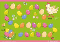 Het lente & kuiken spel voor kleuters, spelbord, kleuteridee.nl , The spring & chick game for preschool , gameboard, free printable.