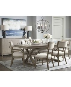 Trestle Dining Table With Chairs Furniture Rachael Ray Highline Expandable Trestle Dining Table Dining Room Table Decor, Trestle Dining Tables, Elegant Dining Room, Beautiful Dining Rooms, Modern Dining Table, Dining Room Sets, Dining Table In Kitchen, Dining Room Design, Dining Furniture