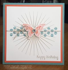 Inspiration:   I'm CASE'ing again....this time it's DDStamps' cute butterfly card  that I found on Pinterest.  I made it my own by chan...
