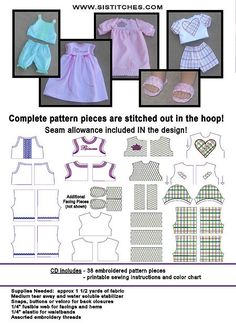 """Machine Embroidery CD's --the Pattern and Embellishments are ALL IN THE HOOP!  18"""" Doll PJs"""