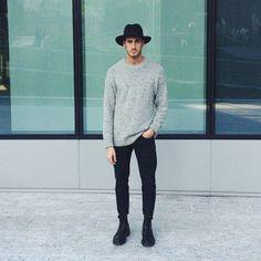 simple // black denim, boots, sweater, hat, menswear, mens style