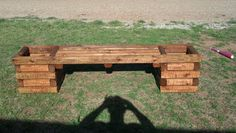 4 foot bench double planter.  Landscaping timber