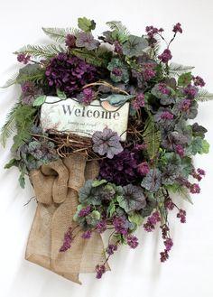 Country Welcome Wreath, Front Door Wreath, Spring Wreath, Burlap, Wildflowers, Honeysuckle, Handmade Wreath, Summer Wreath-- FREE SHIPPING