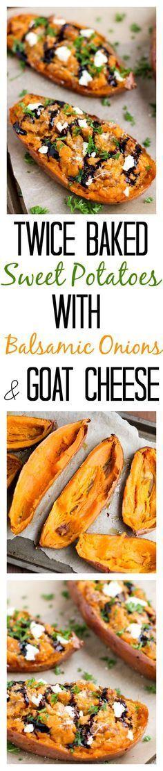 Twice baked, savory sweet potatoes, stuffed with creamy goat cheese, sautéed balsamic onions and rosemary. #Savory #Sidedish #Vegetarian