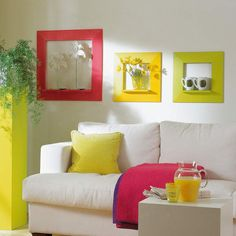 Nice and colorful!  Color ideas for the home - 16_Couch5 like the shelf display in the frame