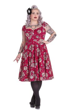 Hell Bunny Plus Size Calavera Day of the Dead Flower Sugar Skull Print Red Party Dress