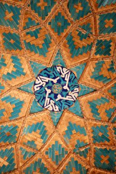 Persian tile work, Mosque, Yazd, Iran