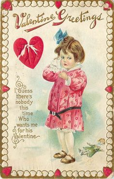 c1913 Embossed Unhappy Valentine Postcard; Crying Little Girl w/ Broken Heart #ValentinesDay