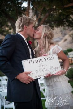 Thank You Sign Last Name Sign Wedding Photo Prop with Established Date. $42.00, via Etsy.