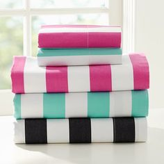 Cottage Stripe Sheet Set - love the black and turquoise