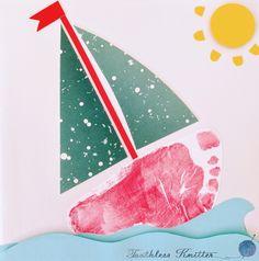Kartka z Odciskiem Stópki - Żaglówka / Sailboat Footprint Card