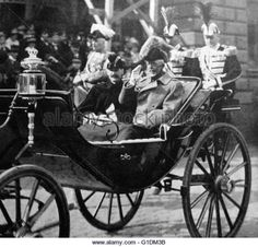 Photographic print of King Haakon VII of Norway (1872-1957) and King Gustaf V of Sweden (1858-1950) in Stockholm. - Stock Image