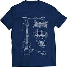 Gibson Les Paul Guitar Patent T-Shirt Mens Gift Idea Music Tee (S, Navy)