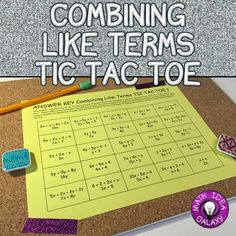 Students love playing tic tac toe- especially in this combining like terms game. This combining like terms activity helps students practice math skills in a fun environment. Great for differentiation, stations or centers, or partner work. Common Core Math, Common Core Standards, Math Lessons, Math Skills, Math Classroom, Maths, Classroom Ideas, Combining Like Terms, Dots Game