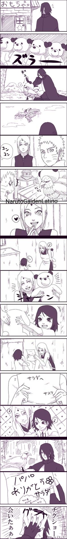 Aaahhh!! This is so freakin adorable!! Sakura, Sarada, and Sasuke are such a cute family. I know that Sarada thinks Sakura isn't her real mother but I hope the movie changes that or can someone please spoil some stuff to me!! I need to know what's happening