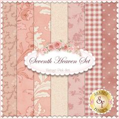 Seventh Heaven 7 FQ Set - Vintage Pink: This Seventh Heaven Set is an exclusive Shabby Fabrics creation! We have taken the guesswork out of finding coordinating fabrics. This set contains 7 coordinating fat quarters, each measuring approximately 18