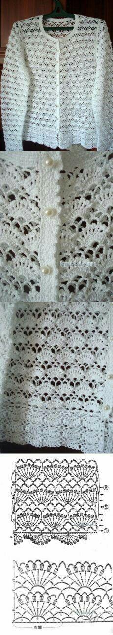 Белая кофточка филейным вязани
