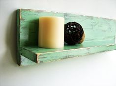 Light Green painted wood shabby chic cottage style home organization wall shelf bathroom decor. $19.95, via Etsy.