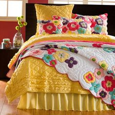 Kamila Flower Quilt and Shams (Twin Quilt), Yellow, Cottage Home Girls Bedroom, Bedroom Decor, Bedrooms, Bedroom Bed, Bedroom Colors, Amity Home, Yellow Bathrooms, Boho Home, Bedding Basics