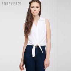 【Forever 21/永远21 00078661 特价】F21简约打结下摆无袖衬衫 FOREVER21女装最低价格-云贝坊