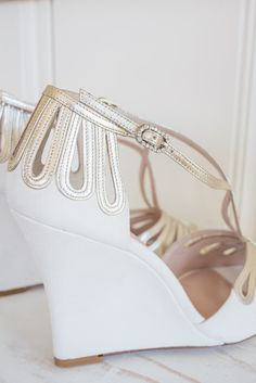 Emmy London Wedding Shoes, Leila Wedge, available at The Blushing Bird in Los Angeles and online theblushingbird.com