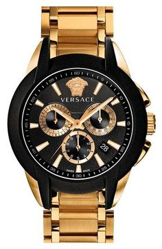 Invisibly set. The Rolex is faceless. Versace 'Character Chrono' Bracelet Watch, 42mm | Nordstrom