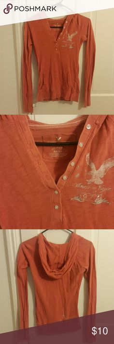 American Eagle shirt American Eagle long sleeve top with hood American Eagle Outfitters Tops Tees - Long Sleeve