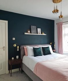 99 Delightful Bedroom Designs Ideas With Dark Wall That Breaks The Monotony – In the olden days, white was the predominant paint color of choice. Homeowners choose the light color to create illusion of space. It was a favorite b… … Bedroom Color Schemes, Bedroom Colors, Cute Bedroom Decor, Wall Decor, Bedroom Ideas, Budget Bedroom, Bedroom Green, Dark Blue Bedroom Walls, Dark Master Bedroom