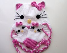 Cute Hat and gloves Crochet Baby Hat and by myknittingworld