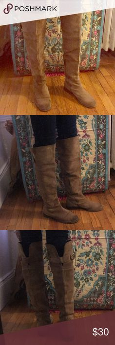 Lucky Brand Over the Knee Suede Boots Used over the knee brown suede boots by Lucky Brand. I used to wear these in college but want to downsize my closet now - still super cute boots though! Lucky Brand Shoes Over the Knee Boots