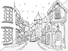 christmas town coloring pages kerstplaatjes on pinterest christmas coloring pages