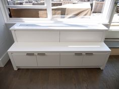 Perfect custom PTAV cover in a Modern Kitchen that creates extra storage and a bench area in the living room. Custom Radiator, Apartment Renovation, Extra Storage, Radiators, Built Ins, Cover Design, Small Spaces, Bench, Farmhouse