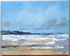 Abstract landscape and beach paintings for your home Title: White Icing Here is an abstract beach painting of the upcoming tide and a shoreline bright with sea foam. Land is seen in the distance, while above is a hazy blue and cloudy sky. This painting was done with both brush and palette knife in impressionist style, with moderate texture. The painting measures 8x10 inches, with 5/8 inch sides painted a dark grey, so that framing is not necessary unless desired. It is then sealed wit...