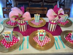 Pink, gold and teal baby shower! Circus themed baby girl shower!