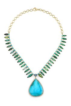 Irene Neuwirth | JewelryONE OF A KIND NECKLACE WITH TURQUOISE, GREEN TOURMALINE, AND FINE AQUAMARINE-