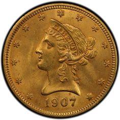 Gold coin, original print 1907.   Gold, gold coins, liberty gold coin, gold investment.