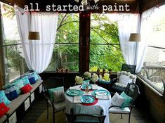 Screened Patio Curtain Decorating Ideas | Summer Decorating Ideas for Front Porch Landscaping