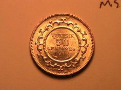 1917 TUNISIA 50 Centime Gem BU Lustrous French Colonial Africa WWI Era Ar Coin